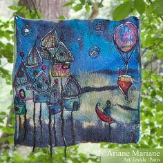 Outdoor Fiber Art Painting Whimsy Felted by ArianeMariane on Etsy