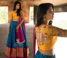 Looking for best half saree blouse designs, check out 30 cool blouse models and patterns that will make you look stunning on any half saree. Choli Blouse Design, Lehenga Saree Design, Half Saree Lehenga, Silk Saree Blouse Designs, Lehenga Designs, Blouse For Lehenga, Latest Blouse Designs, Baby Lehenga, Blouse Patterns