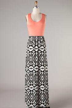 peach aztec Maxi dress