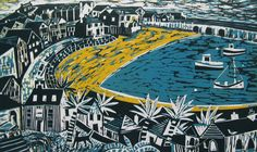 Early morning in st. Ives. Lino- cut by Mary Sumner