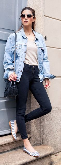 Striped Flats Casual Streetstyle by Negin Mirsalehi