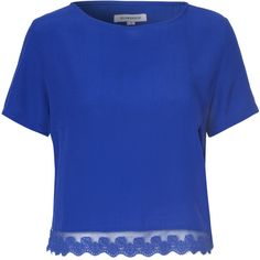 Royal Blue Blouse With Lace Trim (955 RUB) ❤ liked on Polyvore featuring tops, blouses, t-shirts, blue, short sleeve blouse, blue blouse, scoop neck top, electric blue blouse and royal blue blouse