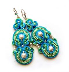 BOLLYWOOD Statement long earrings soutache colorful от SaboDesign, $100,00