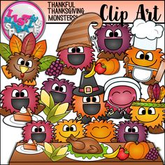 The happy monsters are back and want to spend Thanksgiving with you! Pilgrims, Indians, turkey, pumpkin pie, a cornucopia, oh my! These fun little guys will make your teaching resources and product covers pop just in time for Thanksgiving! The set includes 10 unique monster graphics and their black line version, totaling 20 graphics all together. They are all 300 DPI PNG files! Commercial and personal use acceptable; terms of use file included. Happy Thanksgiving! Enjoy!!