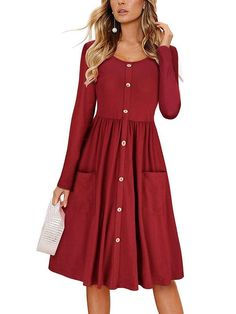 ae245c4f18b0 Laceshe Women s Decorative Button Solid Color Causal Dress with Pockets. Long  Sleeve Midi DressRetro Vintage DressesCasual ...
