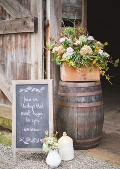 Ceremony Decor-Adapt w/pedestal, more ornate framed mirror/glass-if glass it can be diy etched/less rustic arrgmt container | Wedding and Party Ideas | 100 Layer Cake