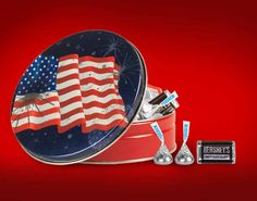 Red + White + Blue American Flag Tin filled with HERSHEY'S Candy - Great patriotic gift for veterans, Independence Day, Memorial Day and Labor Day