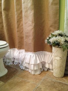 Burlap Shower Curtain with Rows of Tattered by SimplyFrenchMarket, $92.00
