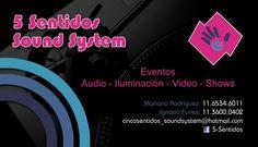 Tarjeta personal para 5 Sentidos Sound System