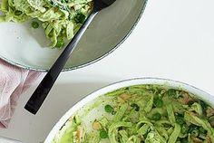 Pasta med røget laks og grønne sager
