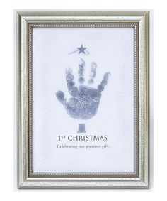 With precious text and a stamp, this sweet set provides the perfect canvas for a little darling's handprint. Commemorate Christmas Day with a memory that will stand the test of time.Includes frame and silver stamp5'' W x 7'' HWoodMade in the USA