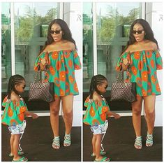 Mother and Daughter Parent-child Summer Clothes Girl Tops Family Matching Outfit Off Shoulder Fashion Cool Comfortable Tops 2019 Baby African Clothes, African Dresses For Kids, Ankara Styles For Kids, Trendy Ankara Styles, Hipster Outfits Men, Girl Outfits, Model Outfits, African Fashion Ankara, African Style