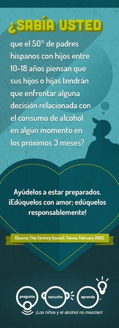 ¿Sabía usted que el 50% de padres hispanos con hijos entre 10-18 años piensan que sus hijos o hijas tendrán que enfrentar alguna decisión relacionada con el consumo de alcohol en algún momento en los próximos 3 meses?    Ayúdelos a estar preparados. ¡Edúquelos con amor; edúquelos responsablemente!