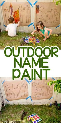 Outdoor Name Art Activity: A quick and easy summer activity from Busy Toddler # outdoor activities for kids Outdoor Name Art Painting Activity for Kids - Busy Toddler Outdoor Activities For Toddlers, Summer Activities For Kids, Summer Kids, Outdoor Play Toddler, Outdoor Fun For Kids, Outdoor Art, Kids Outdoor Crafts, Toddler Summer Crafts, Art Activities For Preschoolers