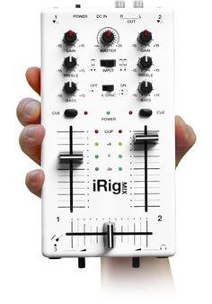 The Ultra Compact DJ mixer   for iPhone, iPod touch, iPad.  iRig™ MIX is the first mobile mixer for iPhone, iPod touch, or iPad. iRig MIX offers the same controls you would expect from a professional DJ mixer (crossfader, cues, EQ and volume controls, etc.) in an ultra-compact mobile mixer that can be used with a huge variety of iOS DJ mixing and other apps. It is a complete DJ system for rehearsing, performing and recording.