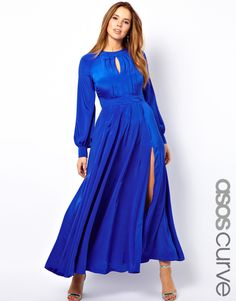 I can rock the Angelina leg too!  ASOS Curve   ASOS CURVE Maxi Dress With Bell Sleeve at ASOS