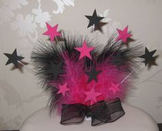 Hot Pink and Black Stars | CAKE TOPPER HOT PINK & BLACK STARS WITH FEATHERS…