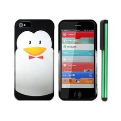 """Amazon.com: Black Penguin With Red Tie Move On Future Premium Design Protector Hard Cover Case Compatible for Apple Iphone 5 (AT, VERIZON, SPRINT) + Combination 1 of New Metal Stylus Touch Screen Pen (4"""" Height, Random Color- Black, Silver, Hot Pink, Green, Light Green, Red, Blue, Light Blue, Purple and Gold): Cell Phones & Accessories"""