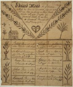 Illustrated family record (Fraktur) found in Revolutionary War Pension and Bounty-Land-Warrant Application File W25694, for Edward Mead, Connecticut., ca. 1800 - ca. 1900. The U.S. National Archives via Flickr.