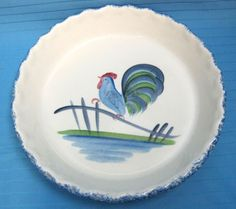 Los Angeles Pottery 10\  Pie Dish Ovenware #630 Splatter Blue Paint Rooster 1971 & Vintage Cute Pie Plate Los Angeles Potteries Ovenware Cute Kitchen ...