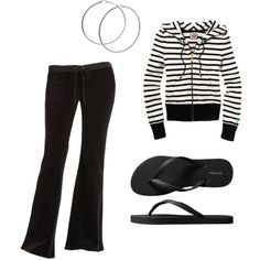 Fashion at home 3.21.12, created by ksjayhawker  Comfy striped hoodie, black lounge pants, silver hoops, and flip flops...relax!