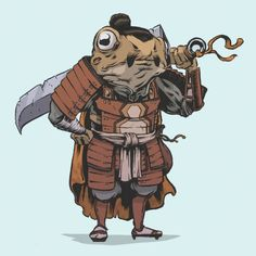 Tagged with art, awesome, frogs, creativity, samurai; The Lily Pad 7 by Conor Nolan Fantasy Character Design, Character Concept, Character Inspiration, Character Art, Concept Art, Frosch Illustration, Japon Illustration, Dnd Characters, Fantasy Characters