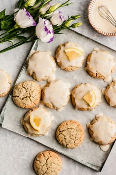 Gorgeous paleo lemon poppy seed cookies made with a mix of nutritious coconut flour and almond flour then topped with an easy, sweet & zesty lemon glaze. These healthy lemon poppy seed cookies are the perfect healthy spring treat that's gluten, grain, dairy free and easily vegan! #cookies #glutenfree #lemonpoppyseed #easter #grainfree #paleofriendly #healthydessert Healthy Carrot Cakes, Healthy Cookie Recipes, Healthy Cookies, Dairy Free Recipes, Healthy Desserts, Cooking Recipes, Kitchen Recipes, Primal Recipes, Paleo Treats
