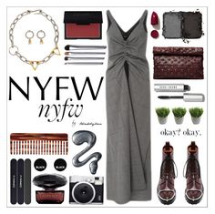 """""""What to Pack: NYFW"""" by trendsbybren ❤ liked on Polyvore featuring Alexander Wang, Bobbi Brown Cosmetics, E L L E R Y, Marie Turnor, NARS Cosmetics, MAC Cosmetics, Fuji, Ethan Allen, Versace and Mason Pearson"""
