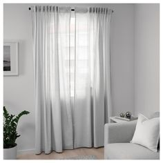 IKEA - HANNALILL, Curtains, 1 pair, grey, The curtains lower the general light level and provide privacy by preventing people outside from seeing directly into the room. The curtains can be used on a curtain rod or a curtain track. Custom Drapes, Green Curtains, Ikea, Curtains, New Room, Light Green Curtains, Grey Curtains, Living Room Decor Curtains, Curtains Without Sewing