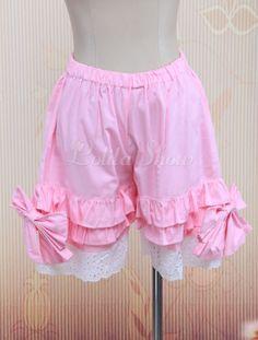 Cotton Pink Lace Lolita Bloomers - Lolitashow.com
