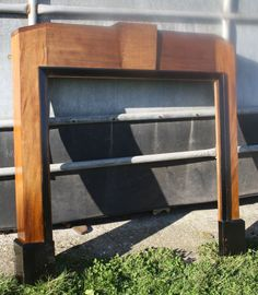 Vintage mahogany and ebonised Art Deco fireplace fire surround mantle piece 1930