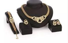 conjunto semi jóias feminino colar pulseira anel brinco ouro