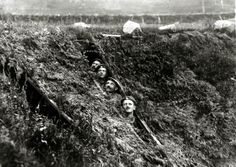 WWI, 1916;  German soldiers near Chateau Thierry take cover as they dodge British aircraft patrols.