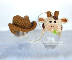 Crochet Newborn Twin Baby Cowboy Hat, Lasso , & Cow Hat Set, Custom Made To Order, Handmade Photo Prop, Baby Shower Gift