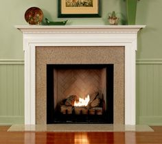 Wood Fireplace Mantel with dentil molding, narrow sides