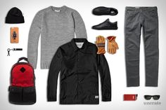 Lexdray Tokyo Pack ($395). MKI Plain Coach Jacket ($79). MKI Fisherman Knit Sweater ($79). AG Jeans ($205). Omega Speedmaster Speed Dial Watch ($3,700). Permanents Beanie ($71). Shinola iPhone 6 Plus Case ($95). Astis Elias Glove ($165). Vans Leather Old Skool...