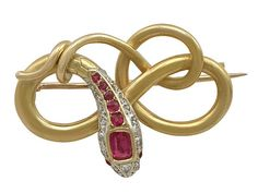 0.59 ct Ruby and 0.08 ct Diamond, 22 ct Yellow Gold 'Snake' Brooch - Antique Victorian