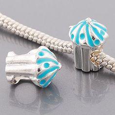 Pandora Style Silver Plated Blue BIRTHDAY Cupcake Bead*Fits Pandora, Chamalia, Biagi JC Pandora Style,