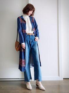 蓝系+白系  甜美休闲风格搭配♀️ 蓝色民族花纹连衣裙… KBF 米白色高领衫… Mous