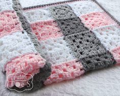 Gray and Pink Granny Square Baby Blanket