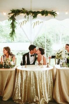 glam gold mr. & mrs. reception table