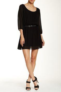Image of Want & Need 3/4 Length Sleeve Lattice Back Dress
