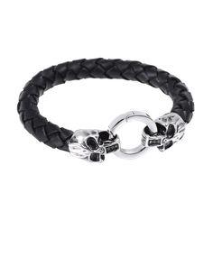 Black Woven Leather Silver Twin Skulls Bracelet - Forziani