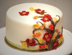 I love these Fall colors. They would go nice with Skye's deep red ribbon on her cake choice.
