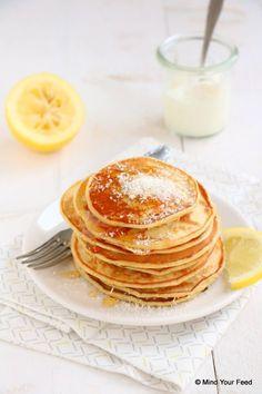 29 Ideas for breakfast recipes waffles meals Pureed Food Recipes, Good Healthy Recipes, Healthy Baking, Sweet Recipes, Yogurt Pancakes, Breakfast Pancakes, Breakfast Recipes, Lemon Pancakes, Köstliche Desserts