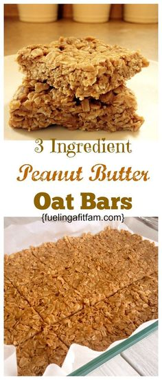 These Peanut Butter Oat bars have three healthy ingredients, and are so delicious! Healthy Oat Bars, Oat Slice Healthy, Healthy Oat Recipes, Peanut Butter Healthy Snacks, Homemade Protein Bars, Homemade Breakfast Bars, Healthy Oat Cookies, Peanut Butter Protein Cookies, Peanut Butter Breakfast