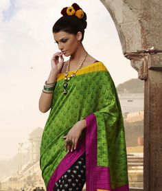 Magnificent Magical Look! Look into a new world of traditional and ethnic wear with this bright and enthralling saree collection. Flaunt the pretty colors and the exquisite designs coupled with quality and freshness. So its time to give a new fangled touch to your ethnic wardrobe. BRAND: Viva N DivaCATEGORY: Saree with Unstitched BlouseARTICLECOLOURMATERIALLENGTHSareeGreen, Black and MultiArt Bhagalpuri Silk5.40 metersBlousePinkArt Bhagalpuri Silk0.75 meterWe would always want to send you…