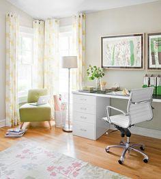 Homey home office - nice window treatments - chair and floor lamp -