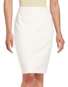 Calvin Klein Textured Pencil Skirt Women's Petal White 10