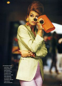 """Farbe Und Accessoires"", Vogue Germany, January 1991Photographer : Neil KirkModel : Daniela Pestova"